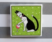 Tuxedo Cat Refrigerator Magnet Red Wine Glass About to Spill large 2 x 2 size featuring original artwork