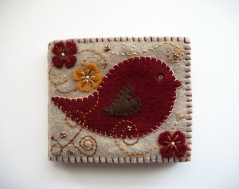Needle Book Sand Felt Needle Keeper with Folk Art Bird Hand Embroidered Felt Flowers and Swirls Handsewn