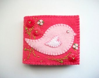 Needle Book Pink Felt Needle Keeper with Pink Folk Art Bird Hand Embroidered Flowers Handsewn