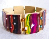 Bracelet Rainbow Copper Polymer Clay Square Stretch with rainbow glass beads red yellow brown white purple beige