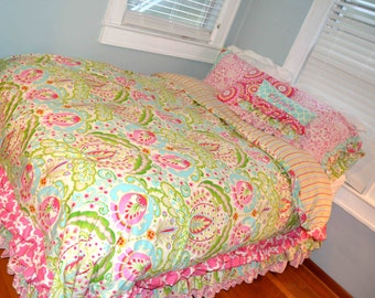 Rag Quilt Patterns For Twin Bed : Rag Quilt Crib Toddler Twin or Full Size Bedding in Kumari