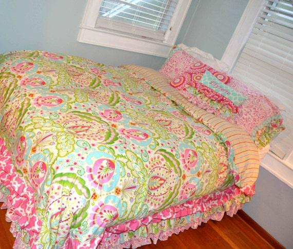 Wonderful 3 Tiered Ruffled Bed Skirt Twin Or Full Size In Kumari Garden Fabric