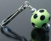 Decorative Zipper Pulls, zipper pulls for purses, purse zipper pull, zipper charm, lampwork, polka dot, lime green with black polka dots