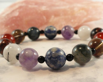 Seven Chakra Meditation Bracelet, Therapeutic Gemstones