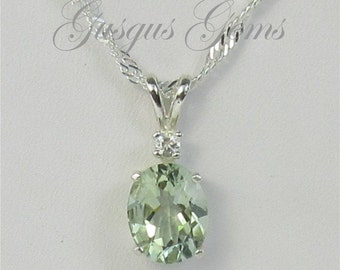 Prasiolite Necklace Sterling Silver 10x8mm 2.45ct With White Zircon Accent Green Amethyst Sterling Necklace