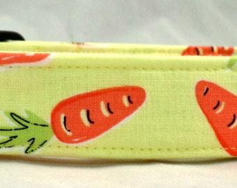 Eat Your Veggies Orange Carrots on Yellow Green Dog Collar