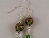 Green Gold and Silver glass beaded dangle earrings