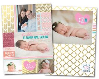 Baby Girls Sparkle Birth Announcements