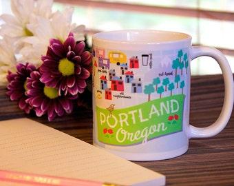 Coffee Mug with map of PDX Portland, Oregon, ceramic mug, unique coffee mug gift