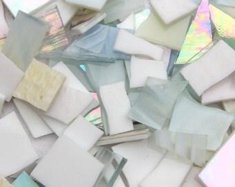 Mosaic Glass - White Clear Irridised - 250g