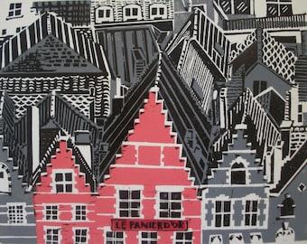 Bruges Rooftops Original Linocut Relief Print