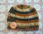 Woman's Bulky  Beanie Cap - Hand Crocheted - Variegated Colors