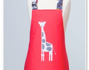 Toddler/KId Size Double Sided Appliqué Giraffe Apron