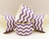 Cupcake Baking Cups, 20 Lilac Chevron Cupcake Cups, Paper Candy Cups, Nut Cup, Party Snack Cup, Dessert Cups, Cupcake Liners, Muffin Cup