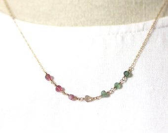 Watermelon Tourmaline Minimal Layering Necklace in Gold | Wire Wrapped Semiprecious Stones | Delicate, Dainty, Lovely | P'tite Jolie by Azki