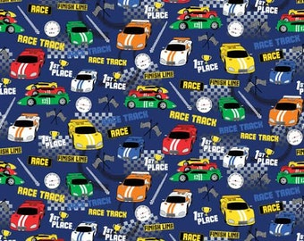Speedway Fabric by Northcott Multicolored Race Cars Car with Checkered Flags on Blue