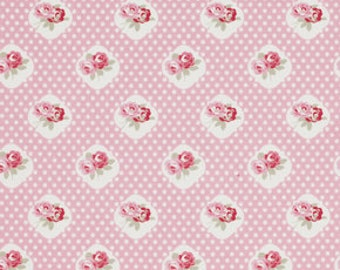 Petal by Tanya Whelan Fabric 059 Sweetie Roses Rose With White Polka Dot Dots on Pink