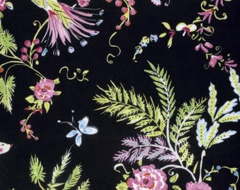 Chinoiserie Chic Fabric by Dena Designs 193 BirdSong Pastel Wispy Floral Flowers on Black
