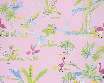 Chinoiserie Chic Fabric by Dena Designs 194 Paradise Flamingos and Palm Trees on Pink