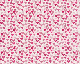 Novelty Fabric by Timeless Treasures Mini Pink and Red Hearts Valentines Day on White