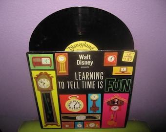 Vinyl Record Album Disney's Learning To Tell Time Is Fun LP 1964 Children's Classics