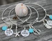 Adjustable bangle bracelet, personalized, custom, hand stamped