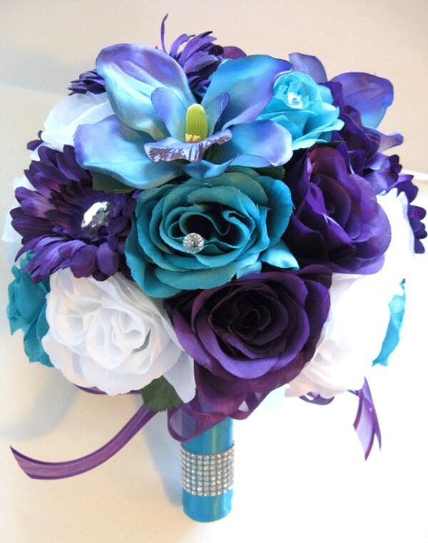 Wedding Silk Flowers Bouquet Bridal PURPLE Daisy TURQUOISE