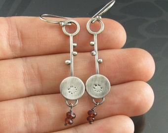 sterling silver dandelion charm earrings - garnet earrings - sterling silver earrings - botanical earrings