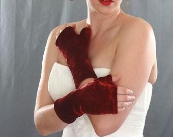 Red Velour Fingerless Gloves