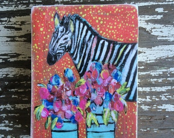 Zebra with vases of flowers,ACEO  Reproduction Mounted On Wood Block by Sunshine Girl Designs (2.5 x 3.5 Inches Print)