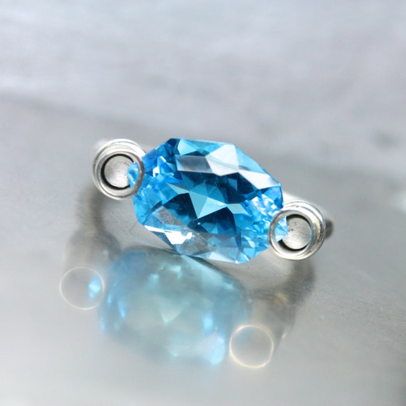 Modern Fancy Cut Blue Topaz Silver Ring Unique Architectural Statement Bright Neon Floating Gemstone Design November Birthstone - Electric