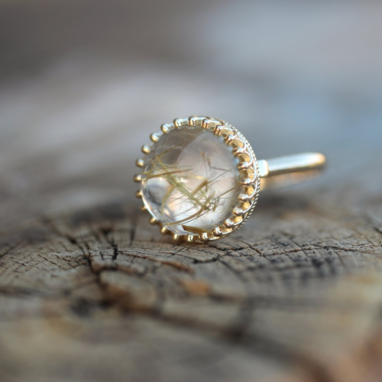 Golden rutilated quartz engagement ring crown princess for Quartz wedding rings