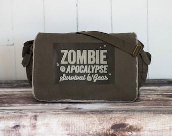 Zombie Apocalypse Survival Gear  - Messenger Bag - School Bag - Khaki Green - Canvas Bag