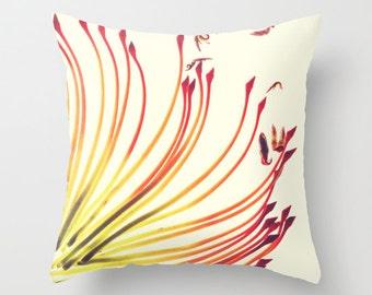 Throw Pillow - Hostess Gift - Botanical Print, Flower Pillows, Red Flower Pillow, Pincushion Cushion 18x18, 16x16