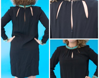 Vintage 1970s Mod Beaded Teal and Black Cutout Dress