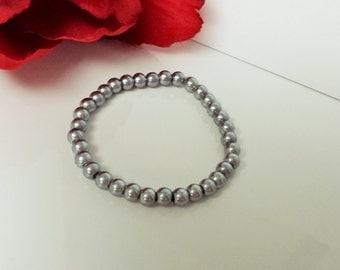 Gunmetal Gray 6mm Glass Pearl Bracelet for Bridesmaid, Flower Girl or Prom