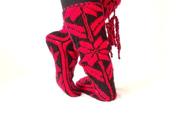 Snow Pattern, Comfy, Red Slippers, Warm Slippers, Christmas Gift, Women Slippers, Mukluk