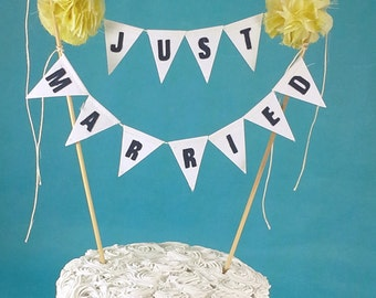 "Wedding Cake banner topper, wedding, Yellow, Navy ""Just Married""  Bunting E244 - pom banner, cake bunting"