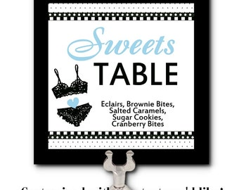 Table Number Cards, Food Labeling Card, Table Signs, Bachelorette Party, Lingerie Shower, Bridal Shower, Black Camisole, Polka Dots, Colors