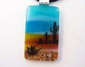 Scenic Desert Fused Glass Pendant and Necklace - Nature Scene - Fused Jewelry - 143-14