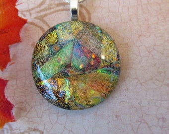 Sparkling Golden Dichroic Pendant - Fused Glass Jewelry - Fused Dichroic Glass Necklace. 5-15