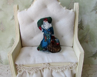 Dollhouse Miniature Old World Santa Christmas Pillow