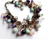 multi gemstone cluster charm bracelet, antiqued brass & bronze chain and wire, unique, one of a kind jewellery