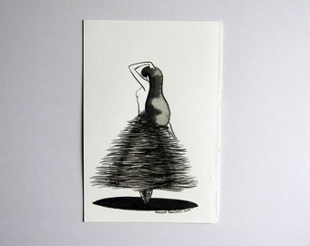 Inktober ink Illustration on paper  - The Dance