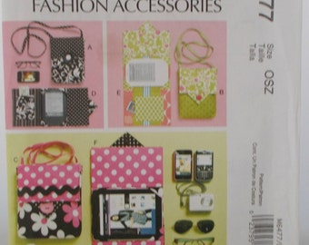 Sewing Pattern new and uncut McCall's M6477 Fashion Accessories Electronic Device Carrying Case in two sizesw and eReader cover in 3 sizes