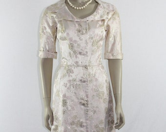 1950's Vintage Dress - Pale Pink and Gold Silk Brocade Evening Out - 38 /  26 / 40