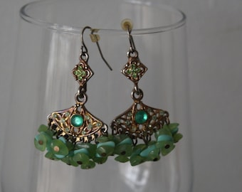 Vintage Green Chandelier Filligree Earrings