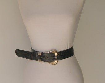 Vintage Italian Alligator Embossed Leather Designer  Belt By Lemie