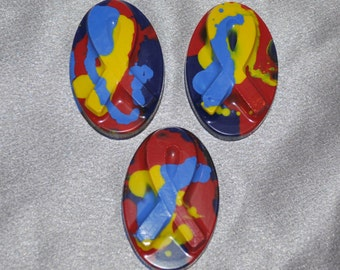 Recycled Crayons Autism Ribbon Color Shaped Total of 15.  Boy or Girl Kids Unique Party Favors, Crayons.