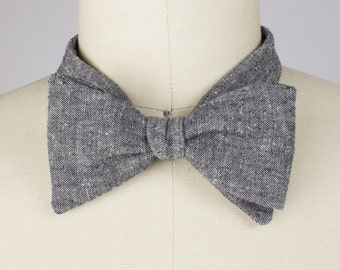 Gentleman Bow tie - Mens gift / Hemp & organic cotton denim Gray or Blue / adjustable or clip on neck tie - Gift for men